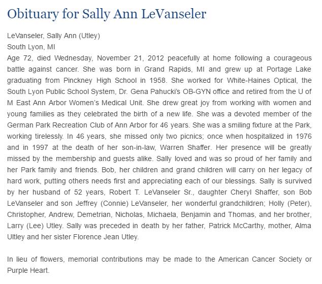 Sally Ann LeVanseler obit