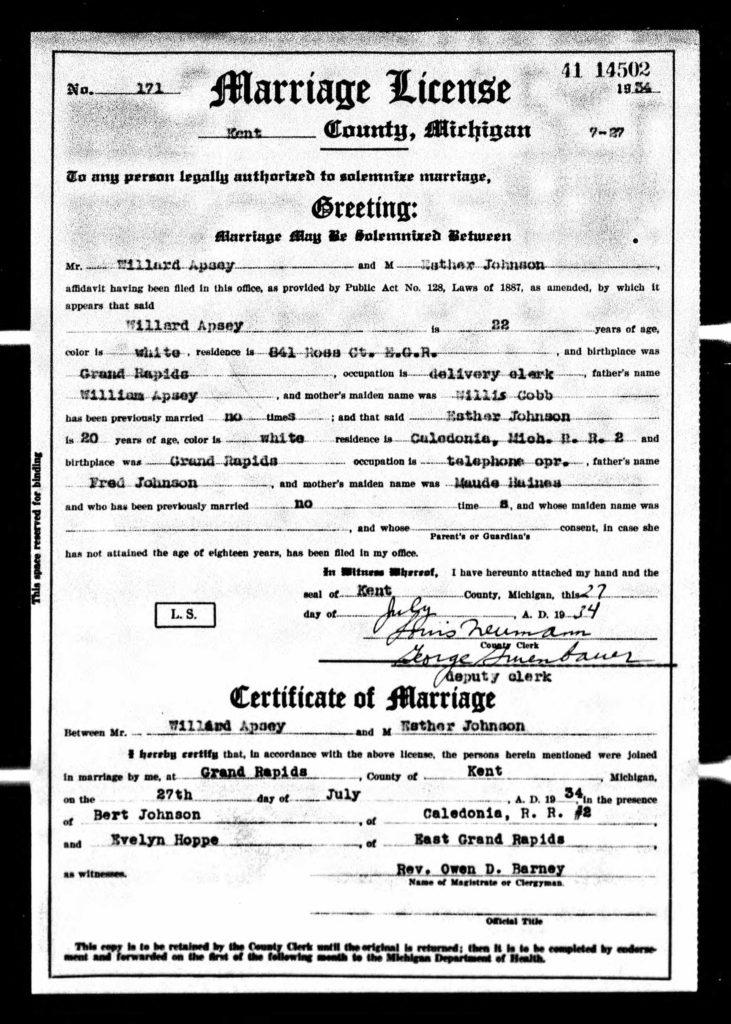 Willard Apsey marriage ej