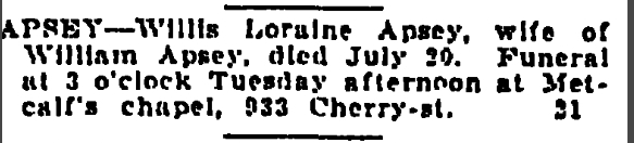 Willis Apsey Monday July 21 1919 Grand Rapids Press Grand Rapids Michigan Page 14