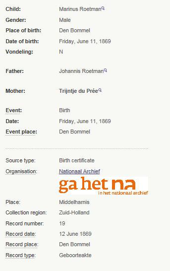 birth marinus roetman