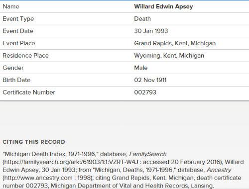 willard edwin apsey
