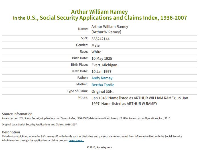 Arthur Ramey_ss claims