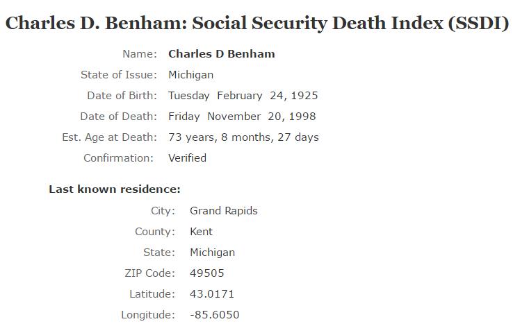 Charles D Benham_ssdi