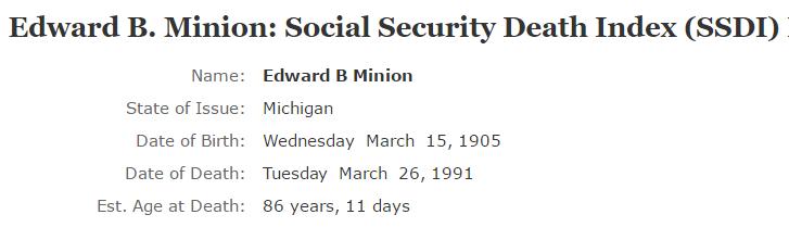 Edward B Minion_ssdi