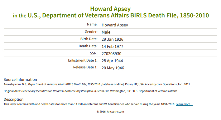 Howard Apsey_veteran death
