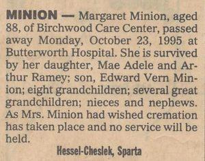 Margaret Minion obit