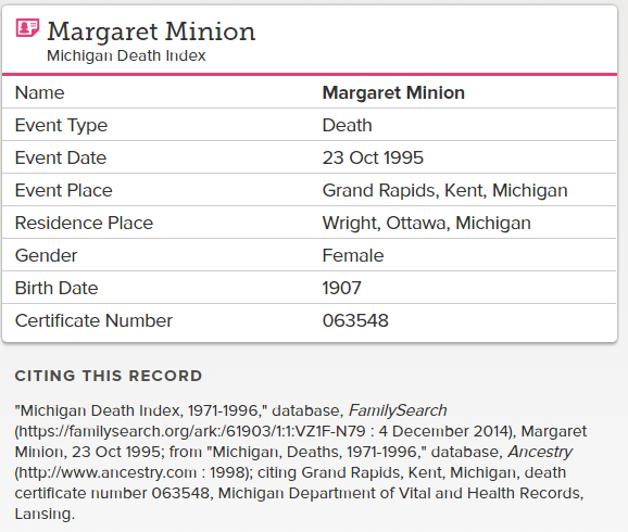 Margaret Minion_death