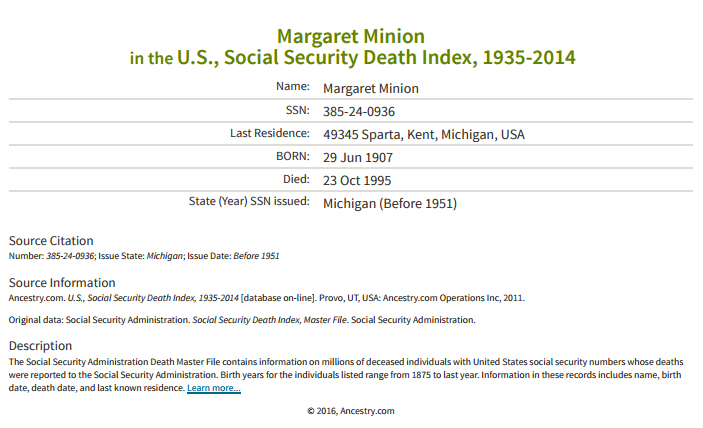 Margaret Minion_ssdi