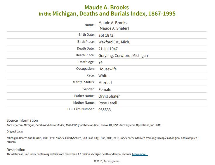 Maude Brooks_death