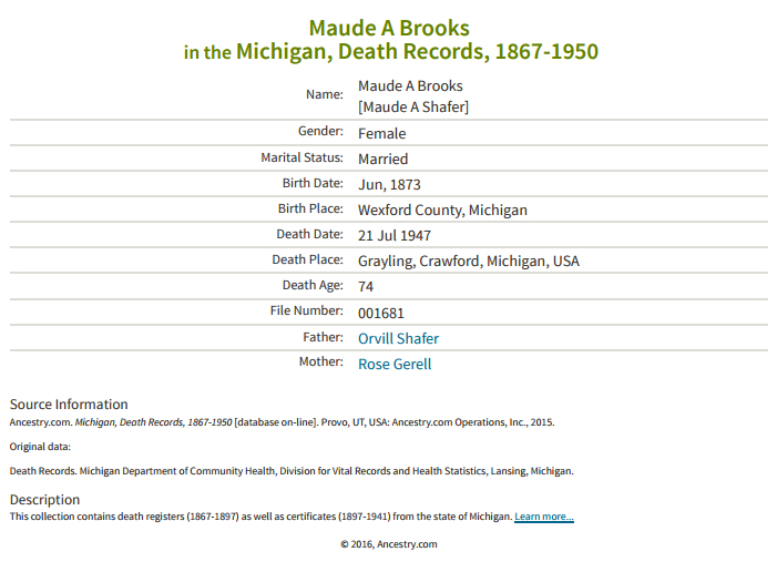 Maude Schafer Brooks_death