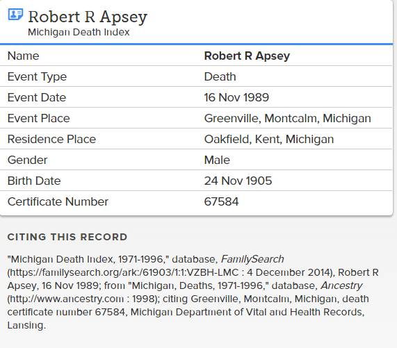 Robert Apsey_death