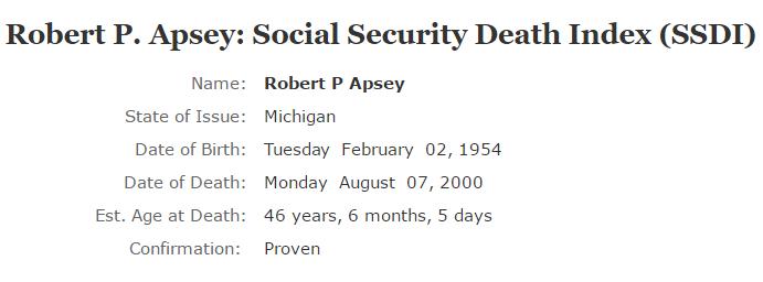 Robert P Apsey_ssdi