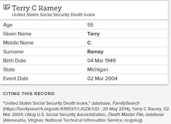 Terry Ramey_death