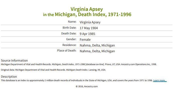 Virginia Apsey_death