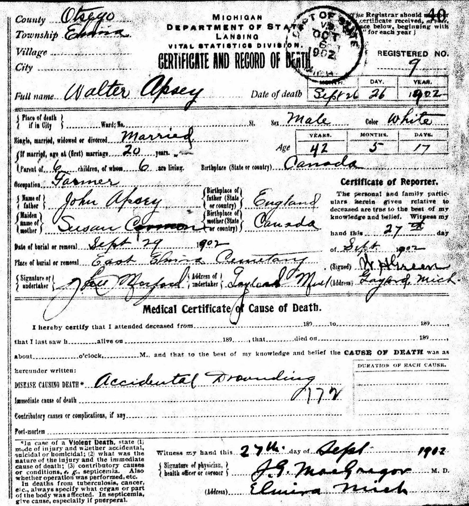 Walter Apsey Death Certificate